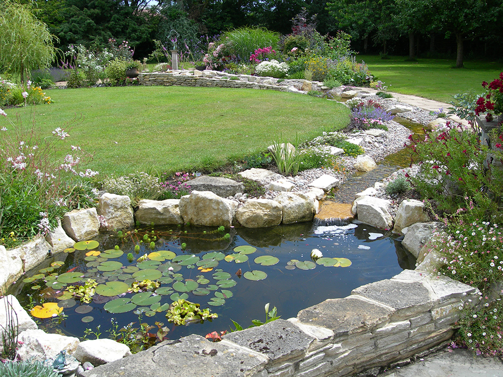 Pond design warwickshire swimming ponds staffordshire for Small garden with pond design